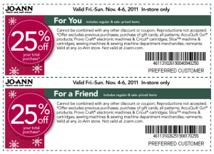 joann fabrics two coupons 25 percent OFF