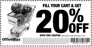 officemax 20 percent off pritnable coupon november 2011