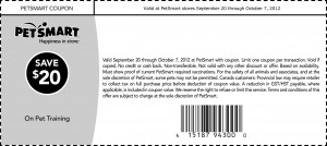 PetSmart Printable Coupon $20 off Pet Training 2012