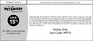PetSmart Coupon Save 15 on $60 or more Online 2012