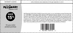 PetSmart Printable Coupon Save 15% on entire purchase 2012