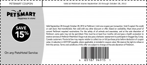 PetSmart Printable Coupon 15% off Pets Hotel Service 2012