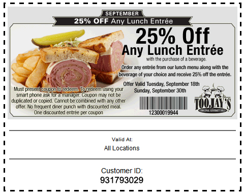 Toojays discount coupons