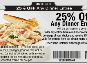 TooJays 25 percent off dinner entree printable Coupon