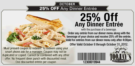 Oil Change Coupons 2015 >> TOOJAYS 25% OFF any DINNER Entree | Print Coupon King