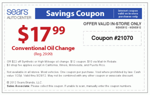 Sears Auto Center Savings Coupon Conventional Oil Change $17.99