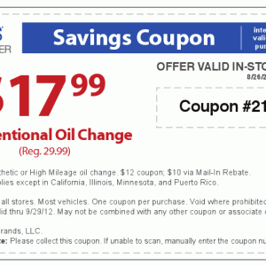 Sears Auto Center Printable Coupon Oil Change