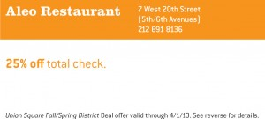25% OFF Entire Check at Aleo Restaurant NYC