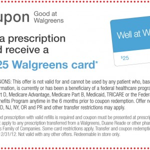 $25 dollar Walgreens Card Printable Coupon
