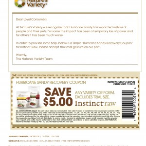 natures variety pet food instinct raw $5 dollars off