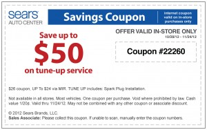 Sears $50 off Car Tune Up Coupon