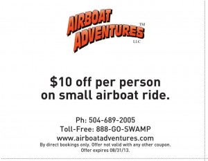 New Orleans AirBoat Adventures $10 OFF Coupon