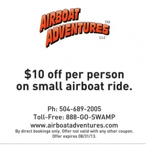 Airboat Adventures Lousianna Printable Coupon
