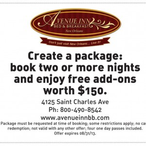 Avenue Inn New Orleans Free $150 Add ons