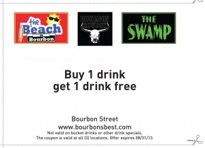 Free Alcoholic Drink! Coupon Bourbon Street New Orleans