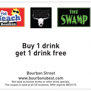 Beach Bourbon Bourbon Cowboy and The Swamp Bourbon Street Free drink coupon