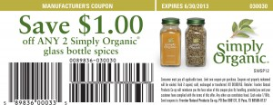 Simply Organic 2013 Printable Coupon SAVE $1.00 off ANY 2 spice bottles