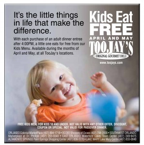 Toojays Kids Eat FREE!!!