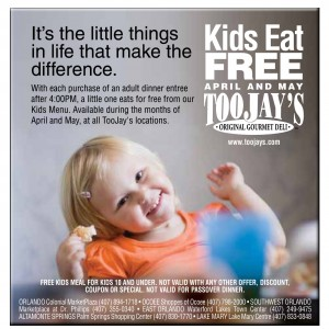 Toojays Kids Eat Free Coupon