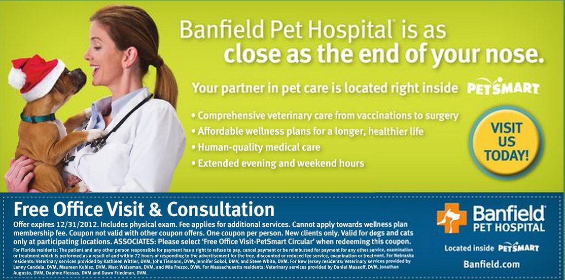 picture about Banfield Coupons Printable titled Banfield Pet dog Clinic No cost Business Check out and Session