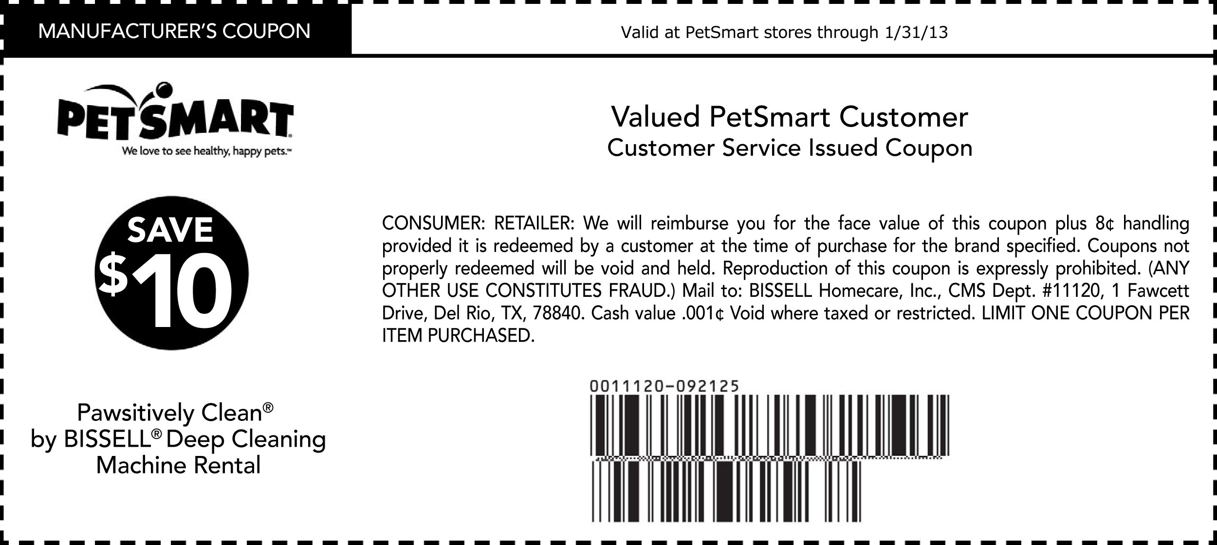 PETSMART Save 10 Bissell Deep Cleaning Machine Rental