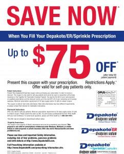 Save $75 OFF Depakote Prescription