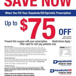 photo regarding Tamiflu Coupons Printable identified as Conserve $75 OFF Depakote Prescription Print Coupon King