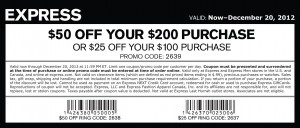 EXPRESS $50 OFF Printable Coupon Promo CODE