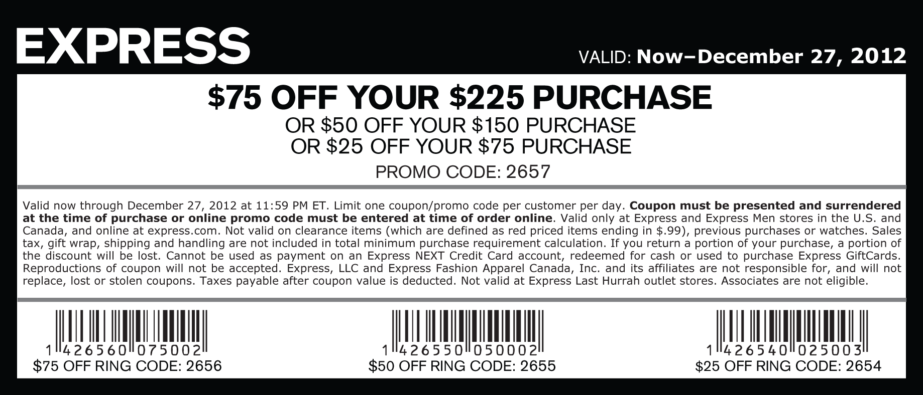 Express coupon code 75 off 200