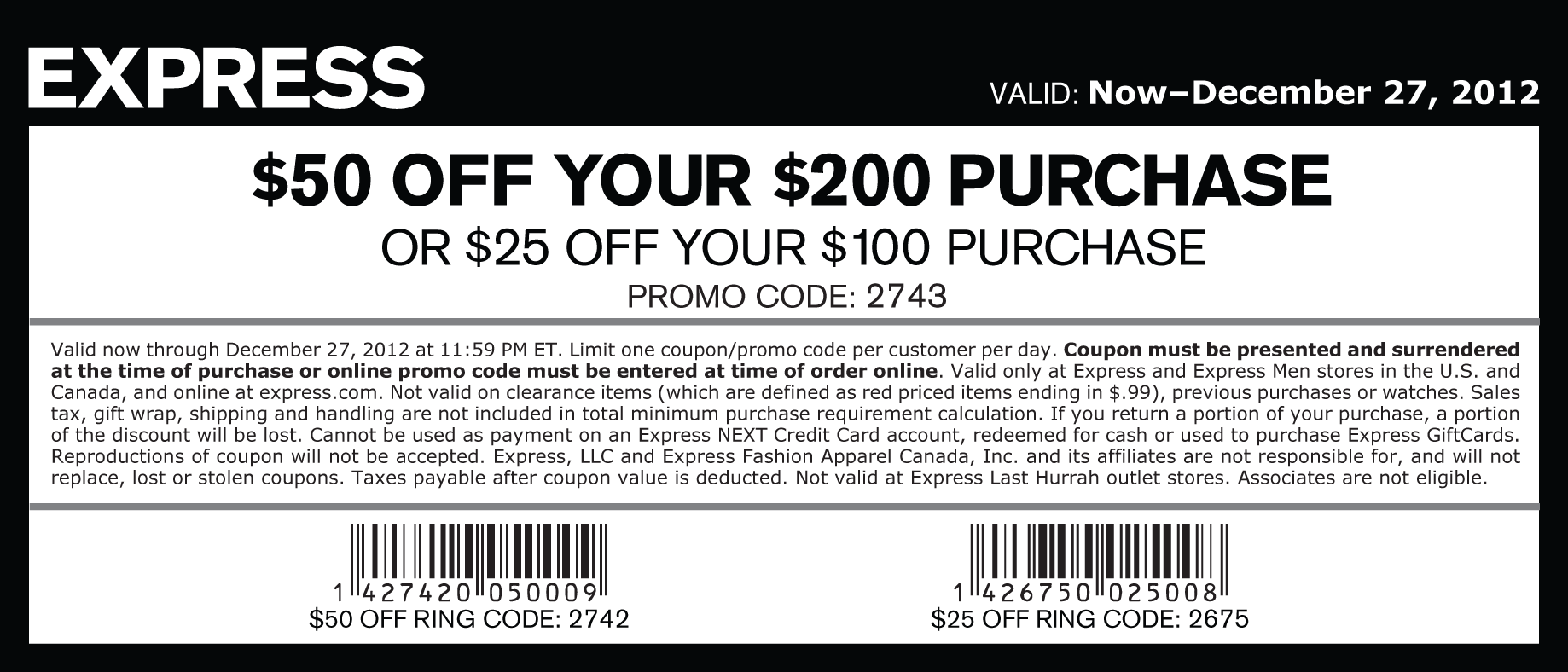Express discount coupons printable