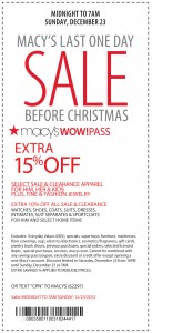 Christmas Sale EXTRA 15% off Macy's