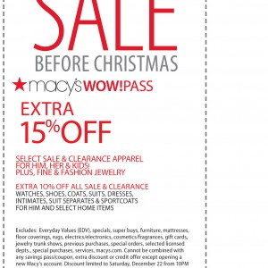 macys extra 15 percent off christmas