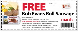 Marsh – Free Bob Evans Roll Sausage 2013 Coupon