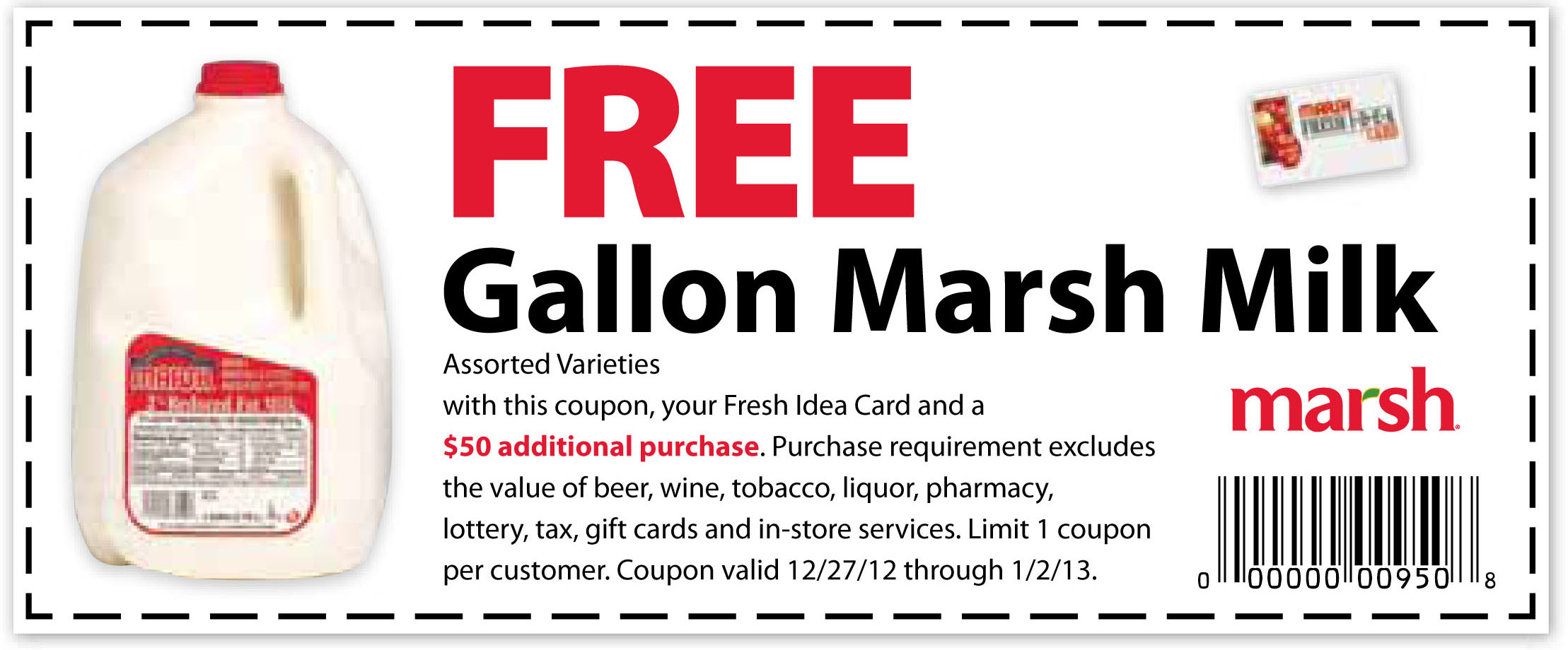 MARSH - FREE Gallon of Milk Printable Coupon | Print ...