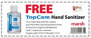 MARSH – FREE TopCare Hand Sanitizer Coupon