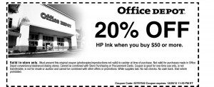 OFFICE DEPOT 20% Off HP Ink Coupon