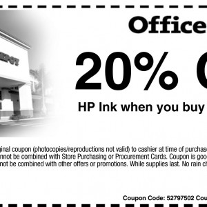 office depot 20% off printable coupon HP ink