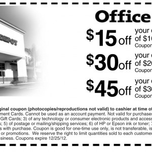 Office Depot three tier printable coupons