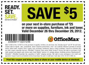 OfficeMax save $5 or More Printable Coupon