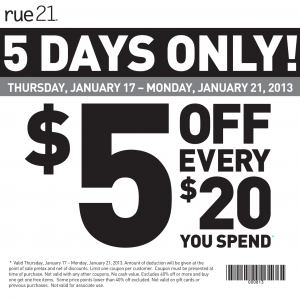 rue21 $5 off $20 2013 printable coupon