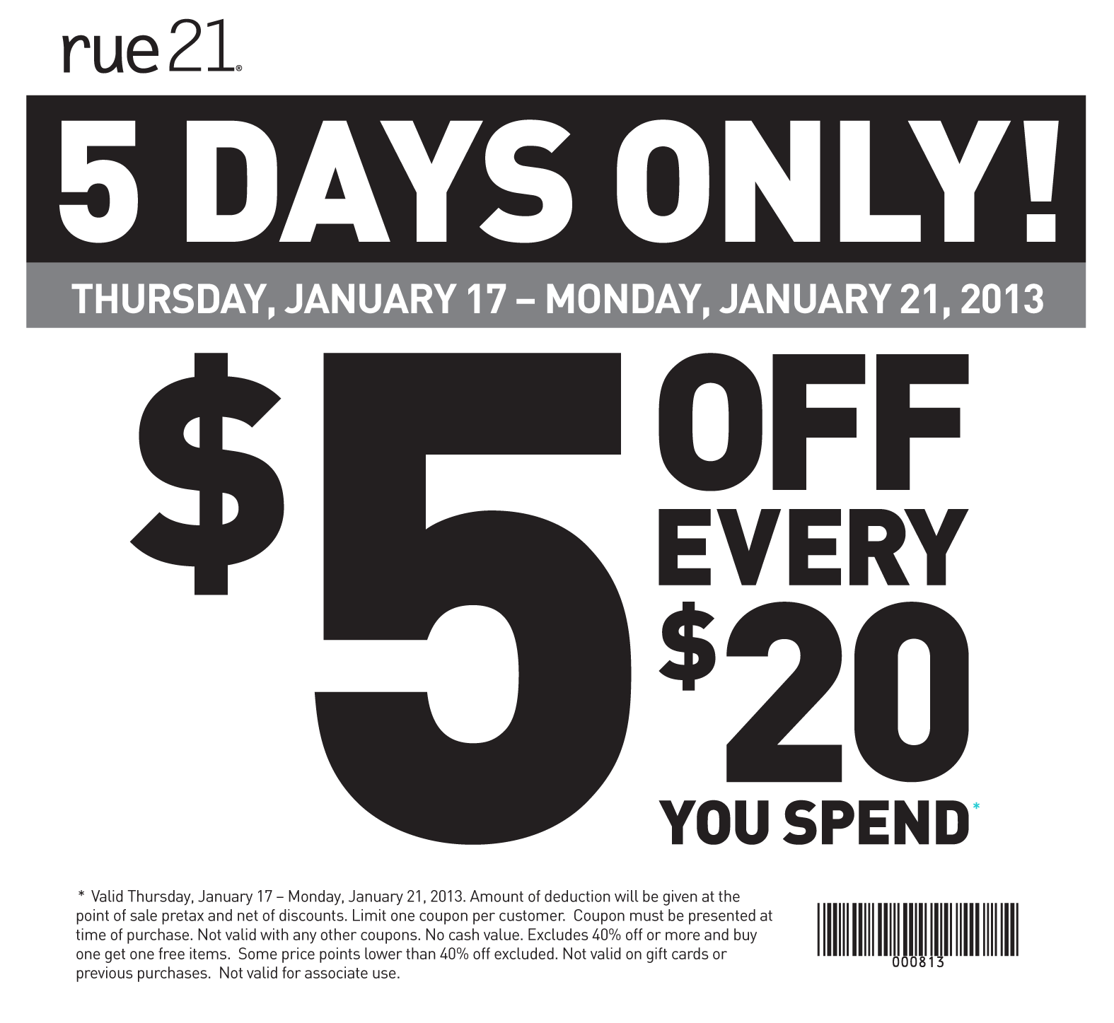 picture about Rue 21 Coupon Printable called rue21 $5 OFF Clothes Printable Coupon Print Coupon King