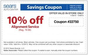 10% OFF Sears Alignment Service Auto Center