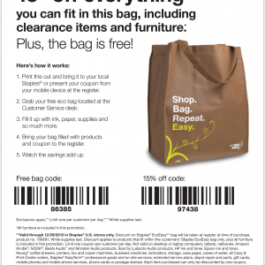 staples free bag and 15 percent off printable coupon