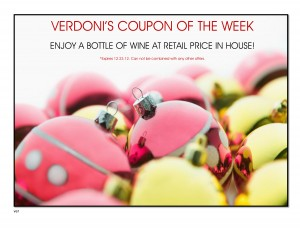 Verdoni's FREE Wine Bottle Coupon