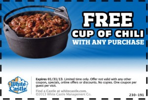 White Castle – FREE Cup of Chili Printable Coupon 2013