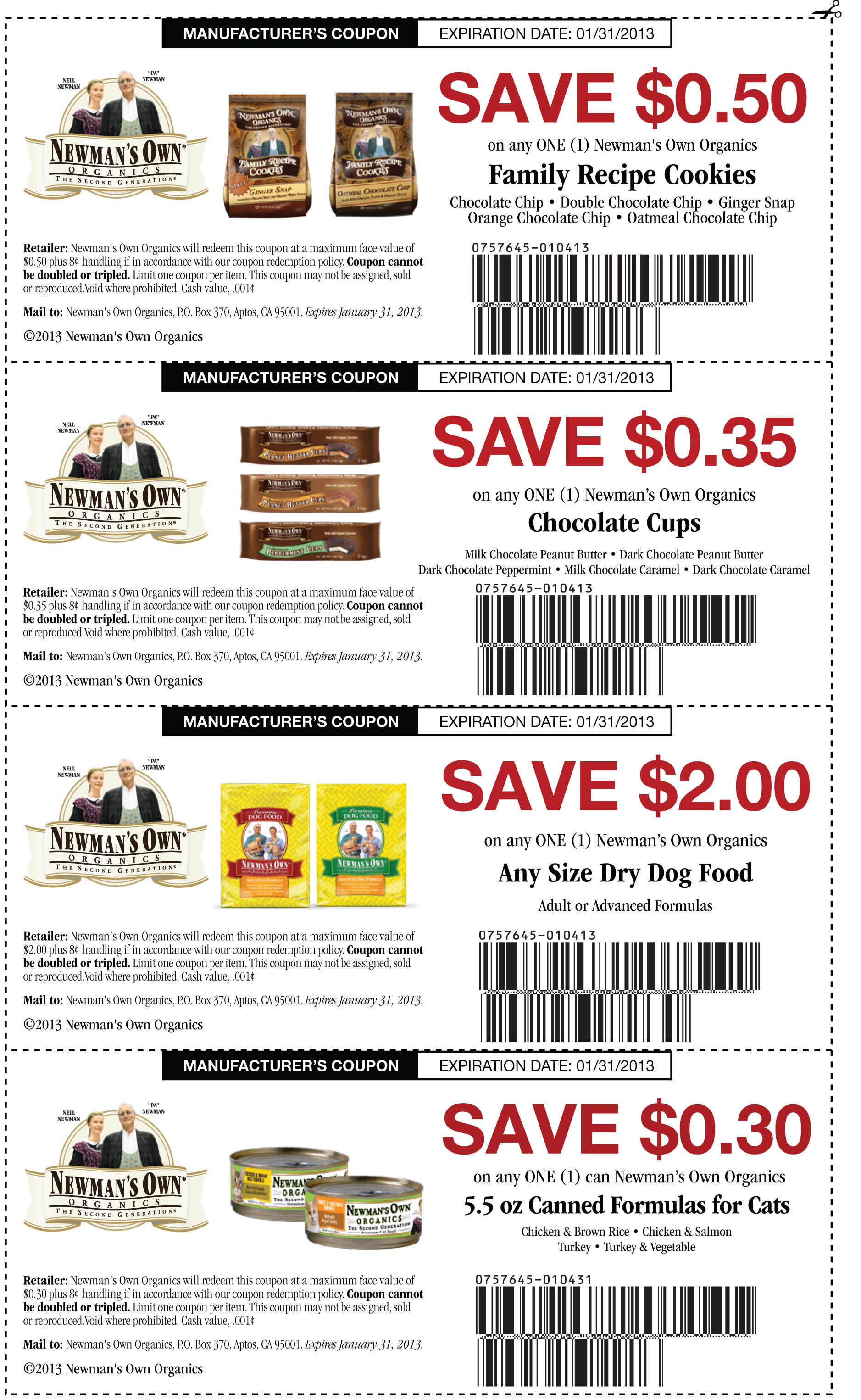 Oil Change Coupons 2015 >> Newman's Own Organics Multiple Coupons List | Print Coupon King