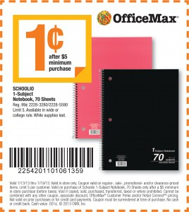 OfficeMax 1 cent Notebook Coupon!