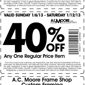 photograph regarding Ac Moore Printable Coupon called AC Moore 55% 50% and 40% off 2013 Coupon Print Coupon King