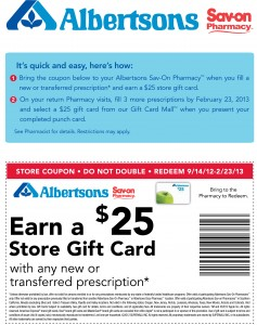 Albertsons $25 Free Gift Card Coupon