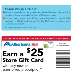 Albertsons Pharmacy Printable Coupon 2013 free gift card $25